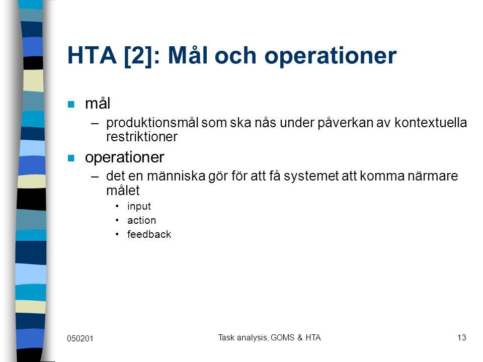 HTA [2]: Mål och operationer